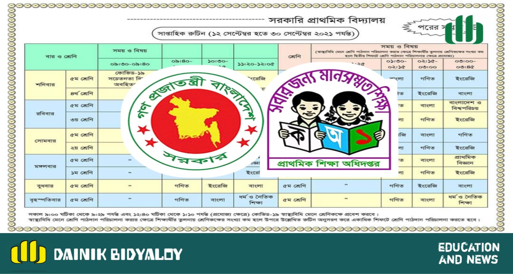 প্রাথমিক শিক্ষা অধিদপ্তর প্রদত্ত রুটিন 'আগের সপ্তাহ' ও 'পরের সপ্তাহ' স্পষ্টিকরণ